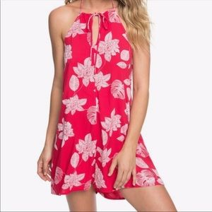 Roxy Yellow Sunday Strappy Halter Floral Romper S